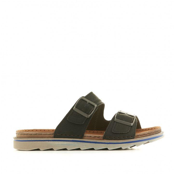 Sandàlies In Blu negres amb sivelles metal·litzades - Querol online