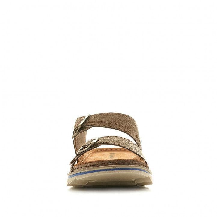 Sandàlies In Blu marrons amb sivelles metal·litzades - Querol online
