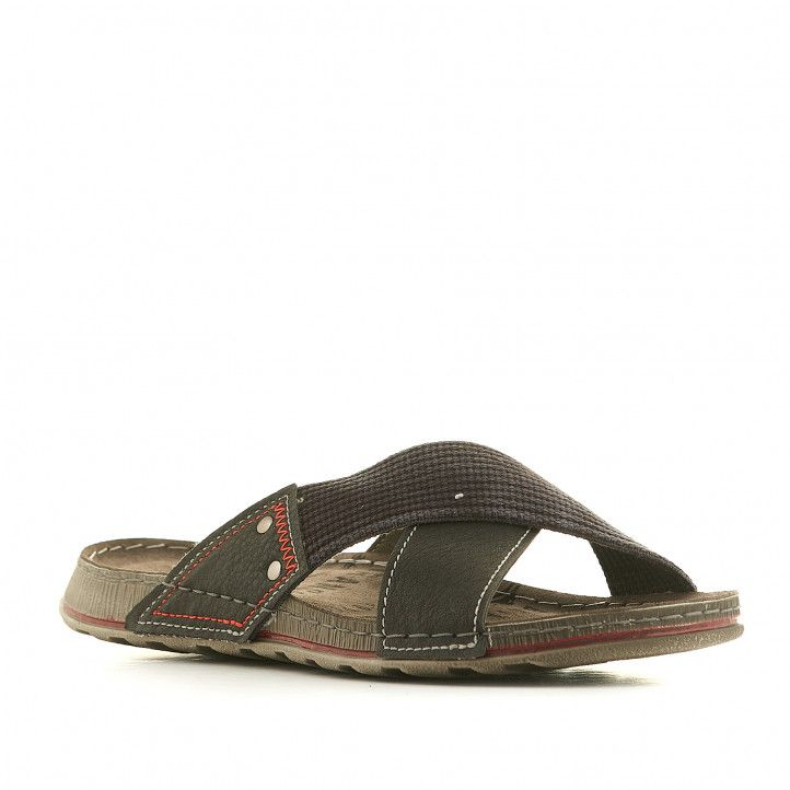 Sandalias In Blu negras con tira delantera cruzada - Querol online