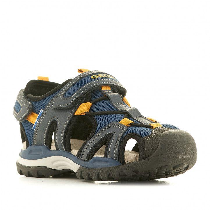 sandalias Geox cangrejeras azules con detalles amarillos - Querol online