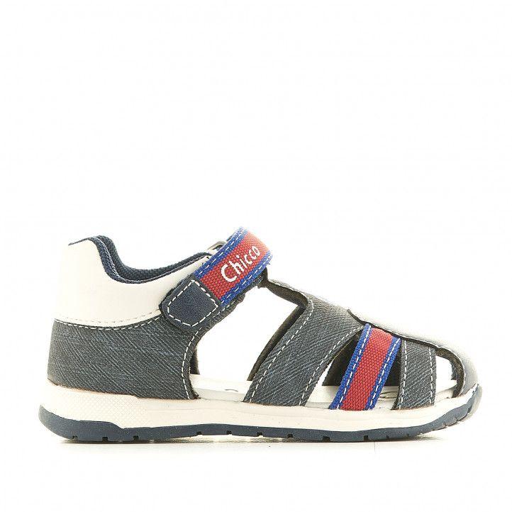 sandàlies Chicco blaves texà tancades amb detalls en vermelll - Querol online