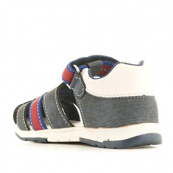 sandalias Chicco cangrejeras azules tejano con detalles en rojo - Querol online