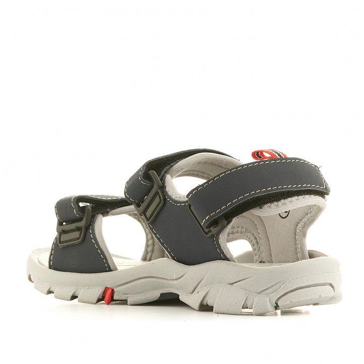 sandalias Gioseppo azules con dos tiras y detalles en rojo - Querol online