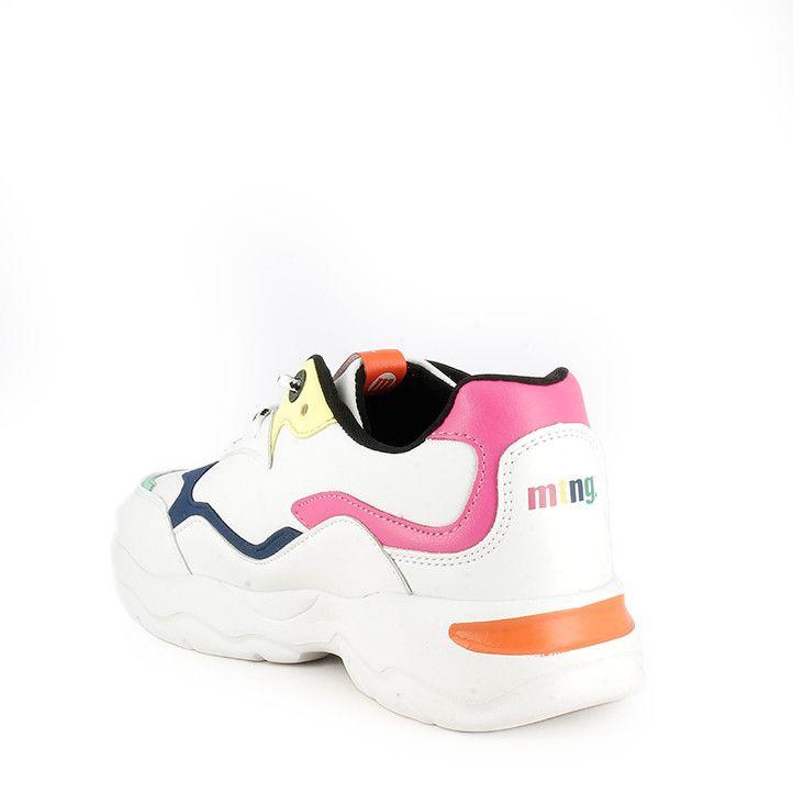 Zapatillas deporte MustangKids blancas con detalles en rosa, amarillo, azul y naranja - Querol online