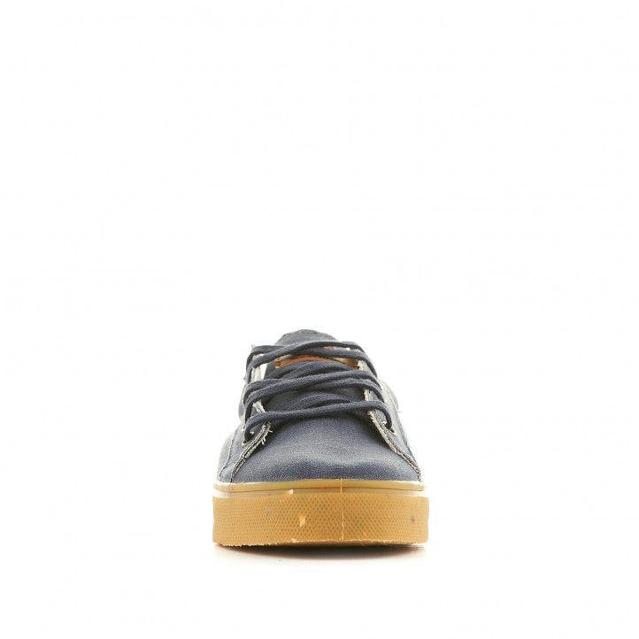Zapatillas lona SHOECOLOGY veganas azules con suela y talón marrón - Querol online