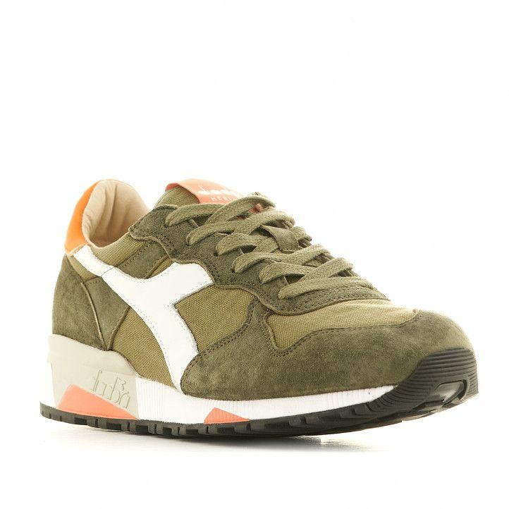 Zapatillas deportivas Diadora verdes con detalles en blanco y talón naranja - Querol online