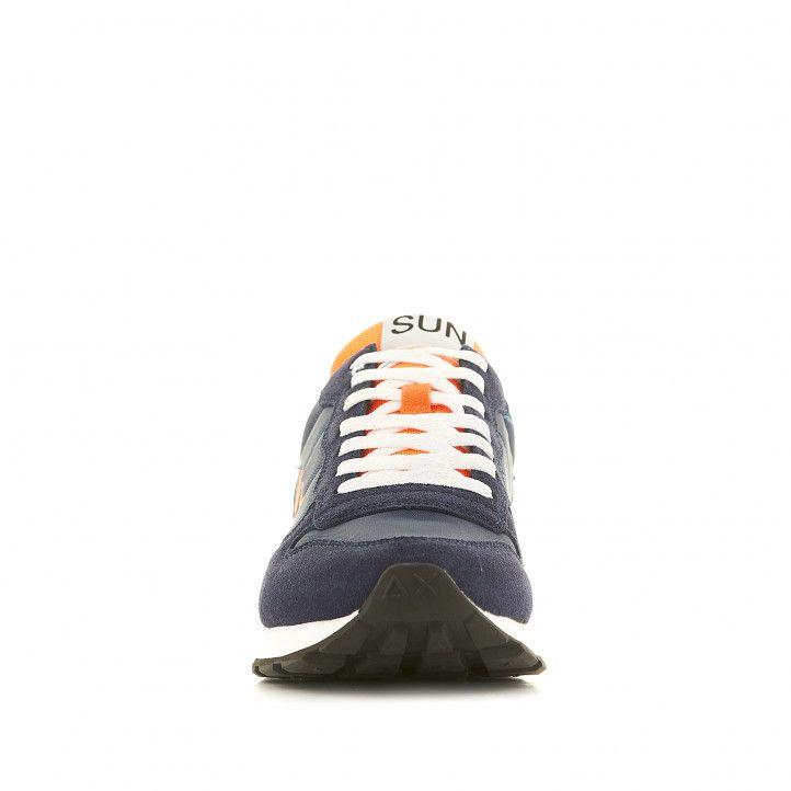 Sabatilles esportives SUN68 blaves amb el logo taronja i el taló en groc - Querol online