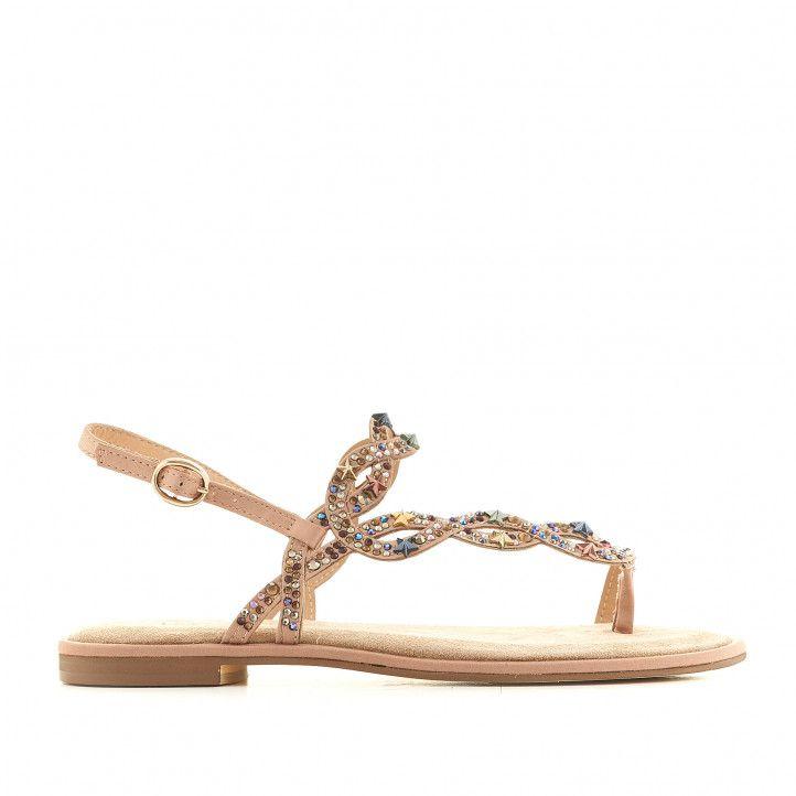 Sandalias planas Alma en pena marrones cogidas al dedo y con detalles brillantes en color - Querol online
