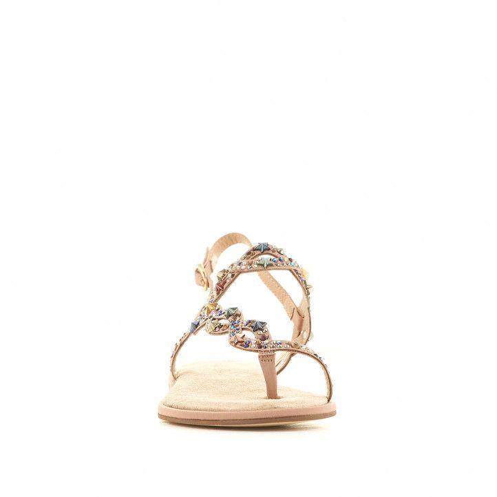 Sandàlies planes Alma en pena marrons agafades pel dit i amb detalls brillants de colors - Querol online