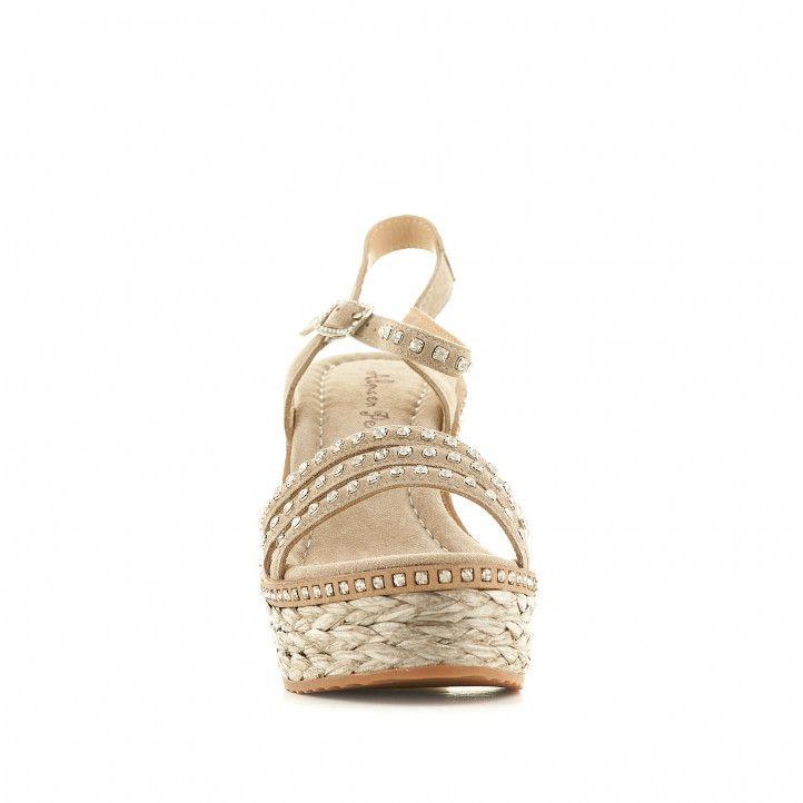 Sandalias tacón Alma en pena grises con tres tiras, detalles brillantes y tacón de esparto - Querol online