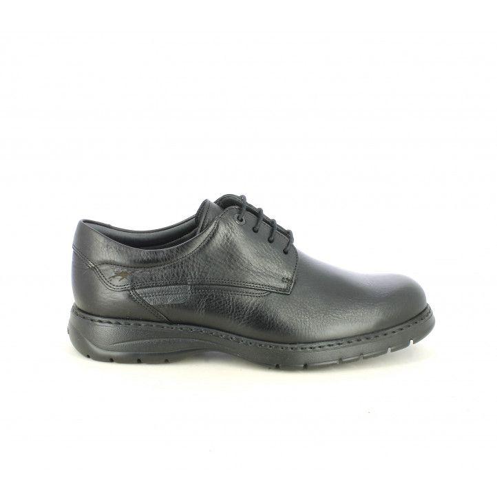 Zapatos sport Fluchos negros de piel tipo bluchers - Querol online