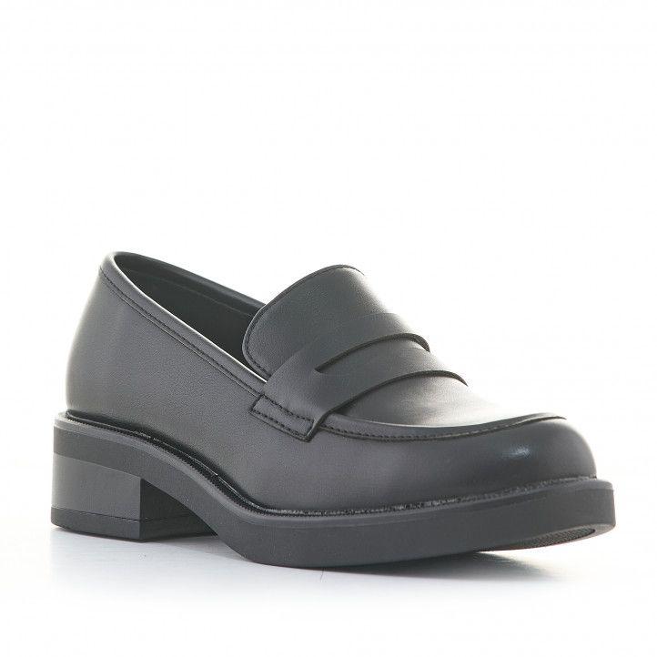 Zapatos tacón D'Angela negros estilo mocasín - Querol online