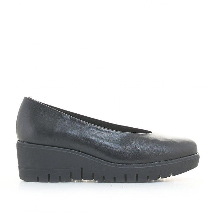 Zapatos cuña Suite009 negros de piel con suela dentada - Querol online