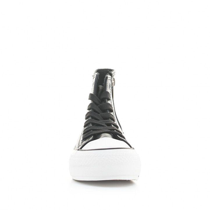 Botines plataforma Owel negros de piel sintética con plataforma, cordones y cremallera lateral - Querol online