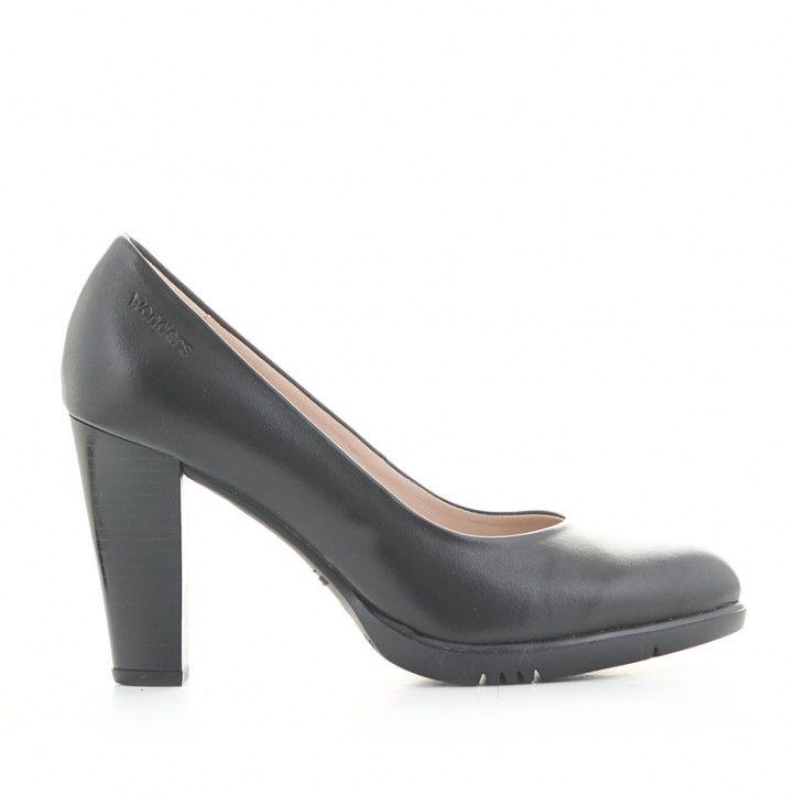 Zapatos tacón Wonders de piel negros wondersfly - Querol online